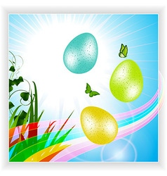 Easter panel with eggs and rainbow vector image vector image