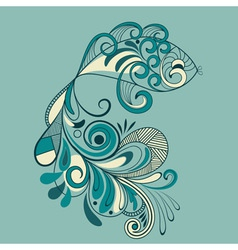 fish with flaral pattern detailed tail vector image vector image