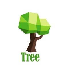 Green polygonal tree abstract icon vector image