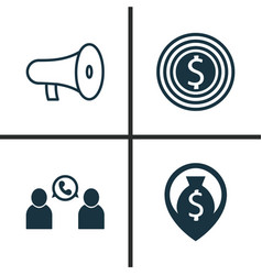 Hr icons set collection of bullhorn goal vector