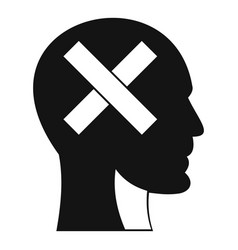human head with cross inside icon simple style vector image