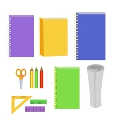 Set of stationery office elements workplace tools vector