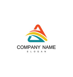 triangle swirl colored logo vector image
