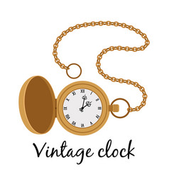 vintage gold watch icon vector image