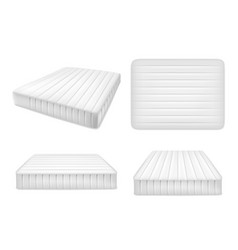 white bed mattresses set realistic vector image