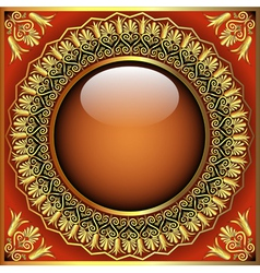 abstract background with glass ball and golden vector image
