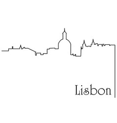 lisbon city one line drawing background vector image
