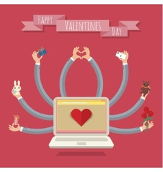 Many-hands laptop Valentine card vector image vector image