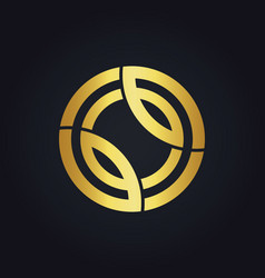 Round technology line connection gold logo vector