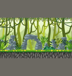 seamless nature jungle landscape with separate vector image vector image