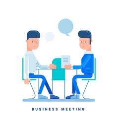 Two businessmen talk at the table business vector