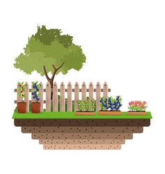gardeing plant tree fence badge vector image