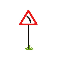 icon of triangular warning sign dangerous turn vector image