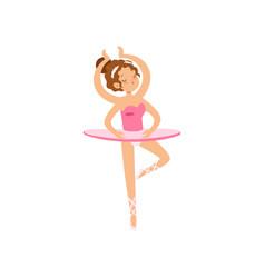 multitasking ballerina character dancing in pink vector image