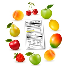 Fresh fruit with a nutrition facts label vector image