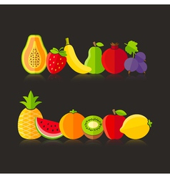 Organic farm fruits in flat style vector image vector image