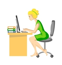 The white-haired girl working vector image