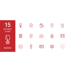 15 badge icons vector