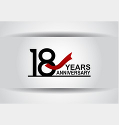 18 years anniversary design with red ribbon vector