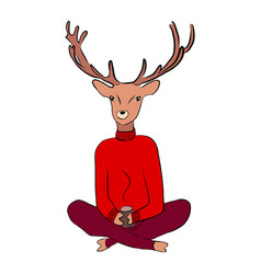 a deer in a sweater vector image