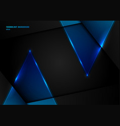 abstract blue triangles with lighting laser on vector image