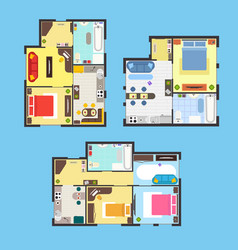 Apartment plan with furniture set vector