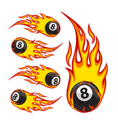 billiard ball 8 on fire vector image