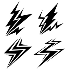 Black symbols of electrical discharge vector