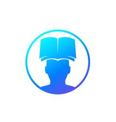 book and head logo icon vector image