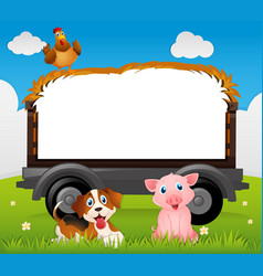 Border template with dog and pig vector