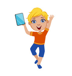 Boy dancing holding tablet part kids and vector