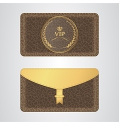 Brown VIP envelope with a rubber stamp and a gold vector