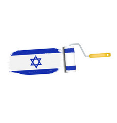 brush stroke with israel national flag isolated on vector image vector image