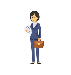 Businesswoman with briefcase and papers vector