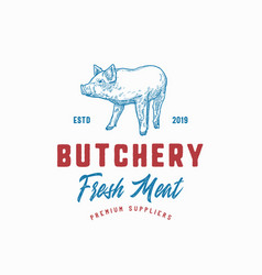 butchery fresh meat abstract sign symbol vector image