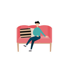 cartoon man sitting in modern pink sofa - isolated vector image