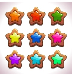 Cartoon wooden stars vector image