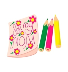 Child drawing of For my Mom picture cartoon icon vector