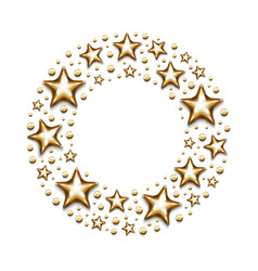 Christmas gold stars and beads in circle on white vector