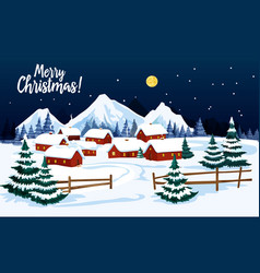christmas holidays winter landscape greeting card vector image