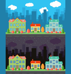 city with one and two-story cartoon houses vector image