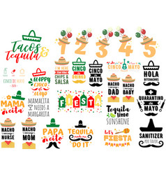 collection cinco de mayo phrases slogans or vector image