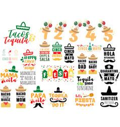 collection cinco de mayo phrases slogans vector image