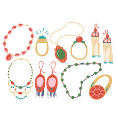 Collection jewelry accessories necklace vector