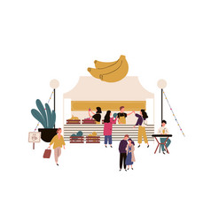 crowd cartoon people buying fresh fruit in vector image