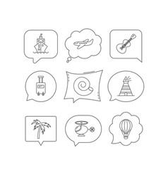 cruise airplane and helicopter icons vector image