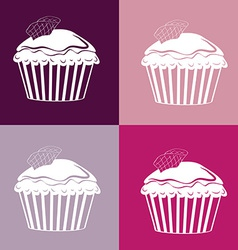 Cupcakes Seamless linear pattern vector
