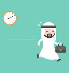 Cute arab businessman carry briefcase running vector