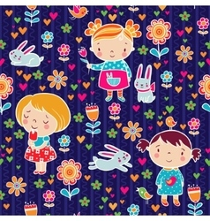 Cute girl seamless pattern vector image