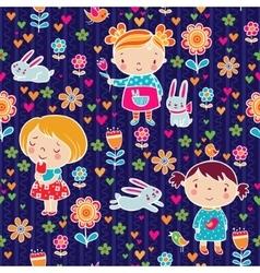 Cute girl seamless pattern vector image